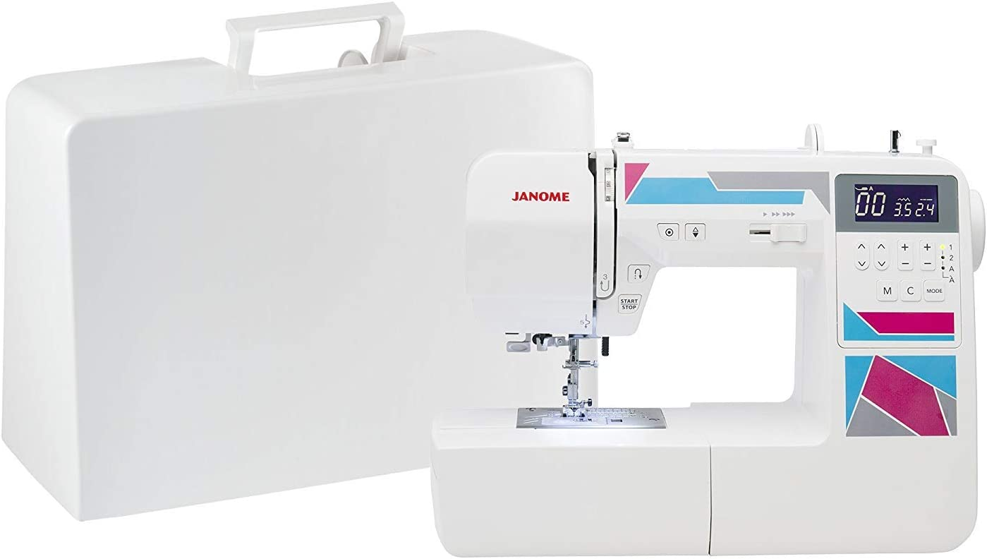 Janome MOD-200 Fully-Featured Computerized Sewing Machine with 200 Stitches, 12 Buttonholes, Alphabet Stitches, Stitch Memory, Drop Feed, Hard Cover and Bonus Presser Feet