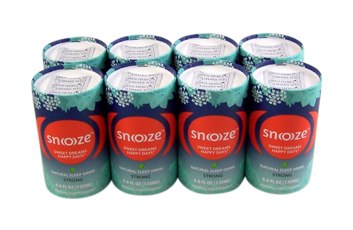 Snoooze Natural and Herbal Supplement Sleep Drink with Valerian, Passionflower, Linden Flower, and Lemon Balm, Strong, 4.6 FL OZ Pack of 8 Cans by Snoooze