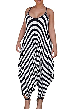 f00f495451a Amazon.com  Rokiney Women Summer Spaghetti Strap Low Cut Stripe Baggy Harem Jumpsuit  Romper  Clothing