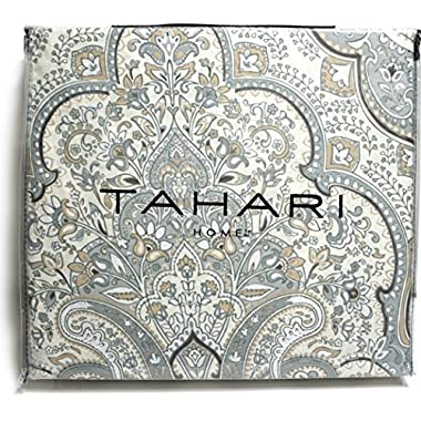 Tahari Home 3pc Duvet Cover Set Grey Beige Paisley Medallion Luxury Cotton Sateen (King/cal.king)