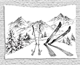 Ambesonne Sports Decor Tapestry by, Winter Activity Skiing with Gear Set on the Mountain Peak Everest Sketchy Image, Wall Hanging for Bedroom Living Room Dorm, 60WX40L Inches, White