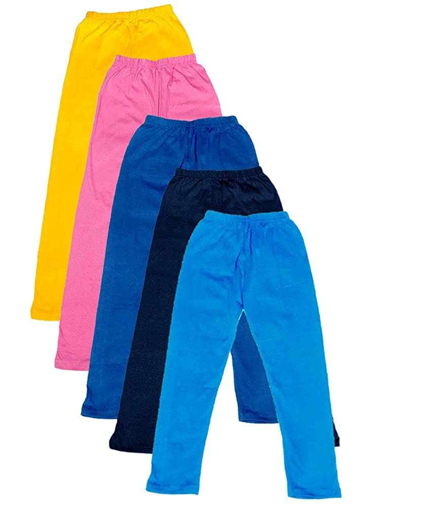 Pack of 5 -Multiple Colors-15-16 Years Indistar Big Girls Cotton Full Ankle Length Solid Leggings