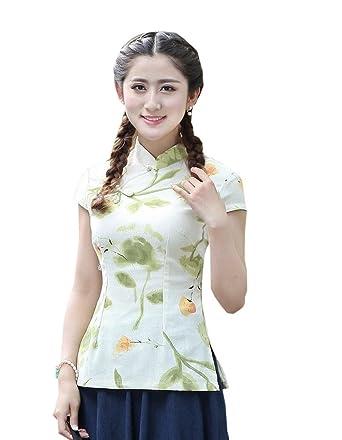 d92193f47 Shanghai Story Women's Linen Tang Suit Chinese Cheongsam Shirt Blouse Top  ...