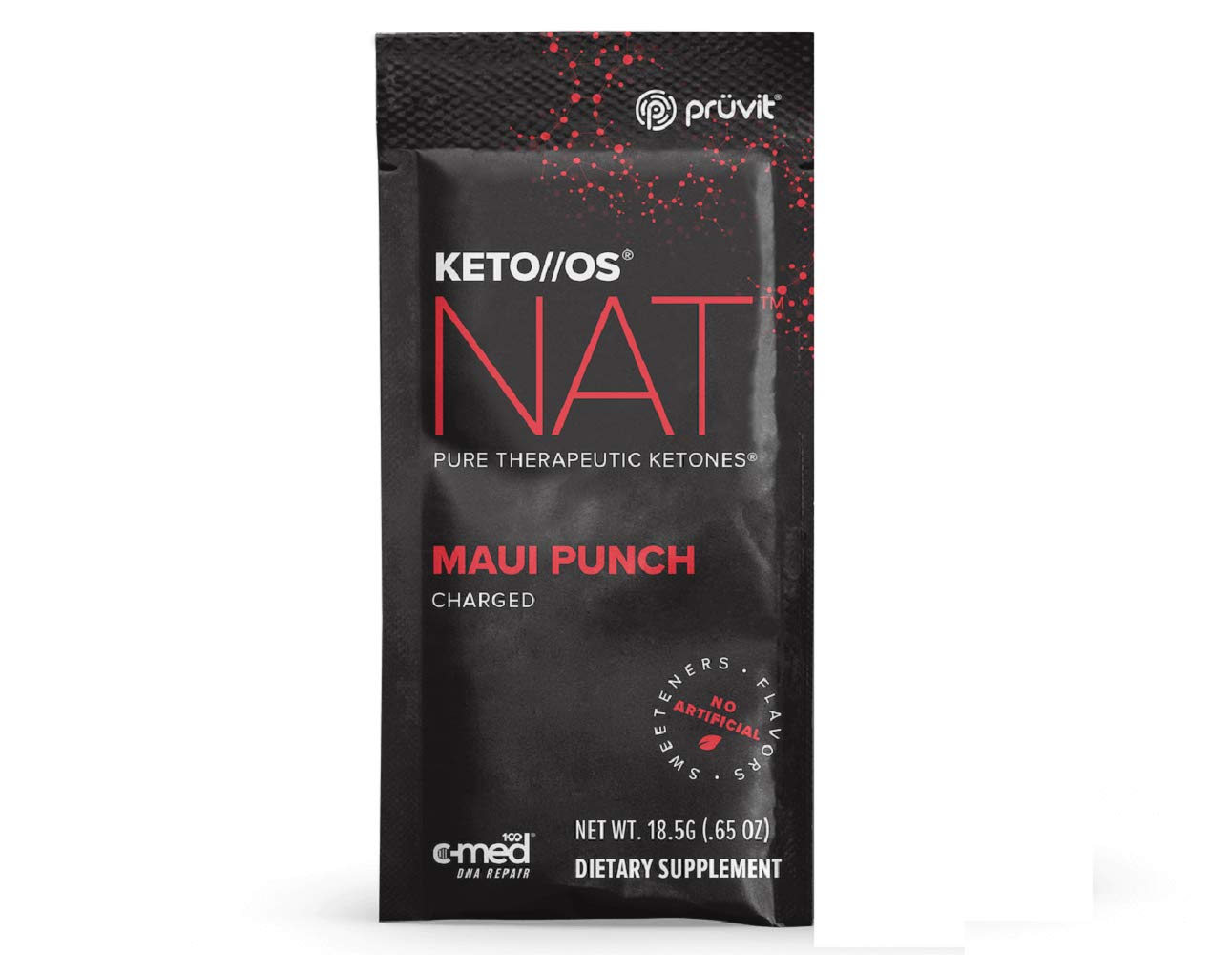 Pruvit Keto//OS NAT Charged, Maui Punch BHB Salts Ketogenic Supplement Ketones for Fat Loss, Workout Energy Boost Through Fast Ketosis (15 Sachets)