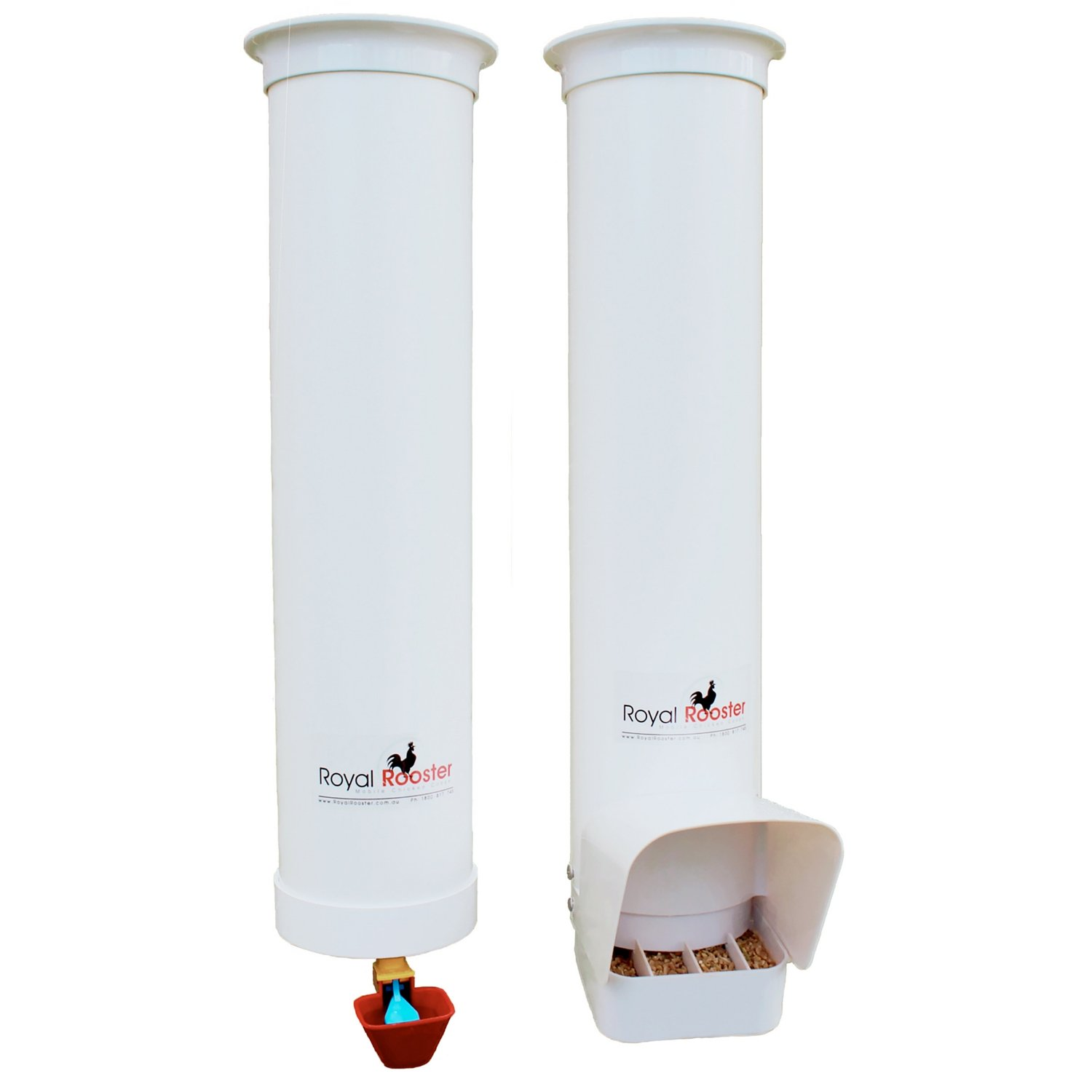 Royal Rooster Chicken Feeder with Rain Cover and Valve-Cup Waterer Set - 6.5lbs / 1 gal. by Royal Rooster