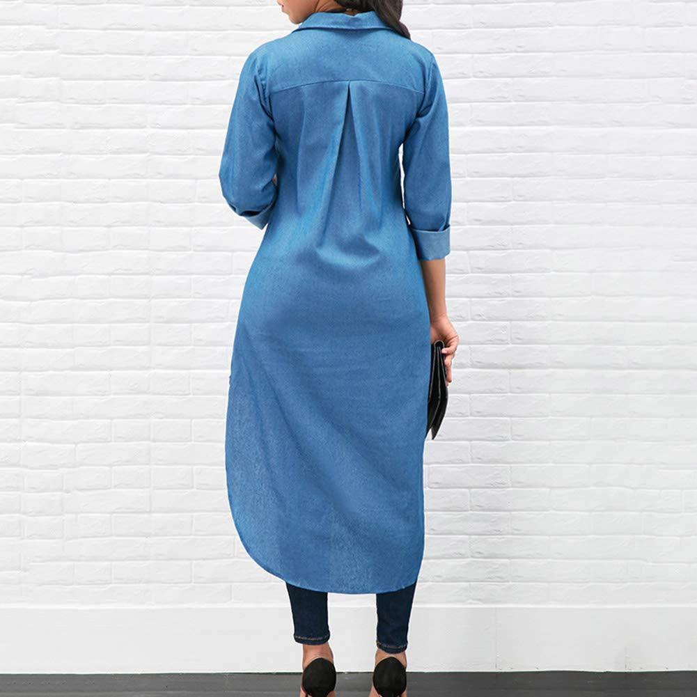 Women/'s Denim Dress Casual Long Sleeve Button Down Tunic T-Shirts Blouse Top Dress