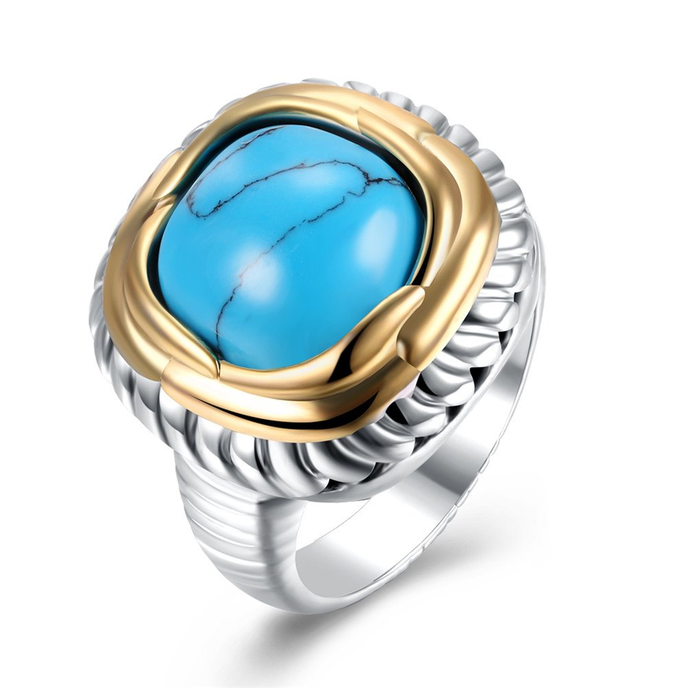 Bohemian Square Turquoise Signet Wedding Promise Ring Two Tone Ring Birthday Gift For Men by Mrsrui