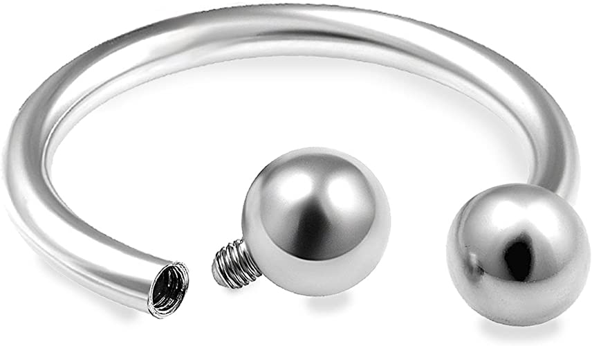 00G Internally Threaded Horseshoe Circular Barbell Earring Lip Septum PAIR 16G