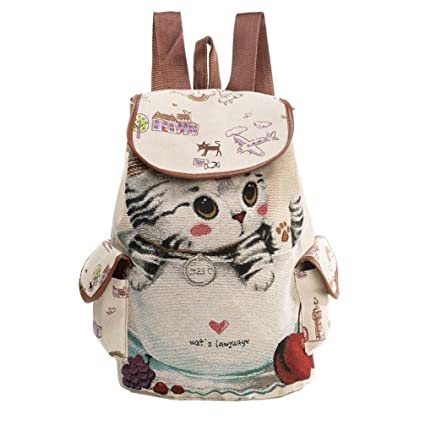Women Grils Cute Cat Printing Canvas Drawstring Backpack Shopping Bag Travel With Two Side Small