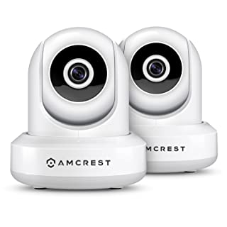 2-Pack Amcrest ProHD 1080P WiFi/Wireless IP Security Camera IP2M-841 Pan/Tilt, 2-Way Audio, Optional Cloud Recording, Full HD 1080P 2MP, Super Wide 90° Viewing Angle, Night Vision (White)