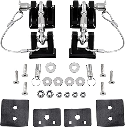 Hydraker Red Hood Catch Latches Kit Fit for Jeep Wrangler 2007-2017 JK /& Unlimited