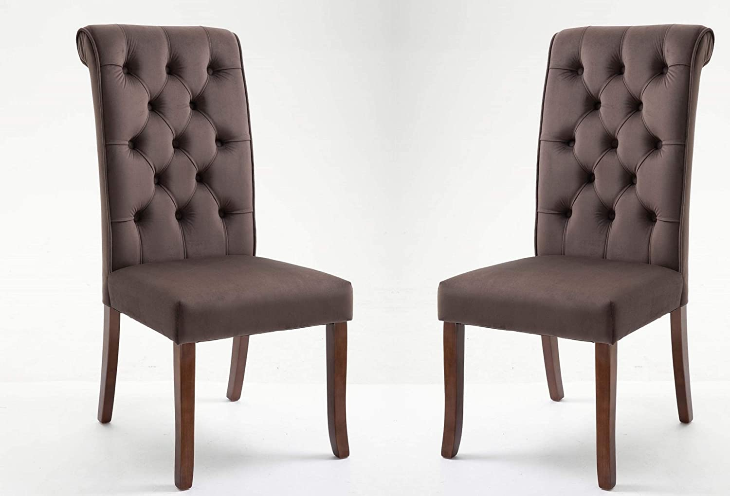 Danxee Dining Chair Tufted Upholstered Velvet Armless Accent Chair Padded Side Chairs with Solid Wood Legs Tall Back Set of 2 Brown
