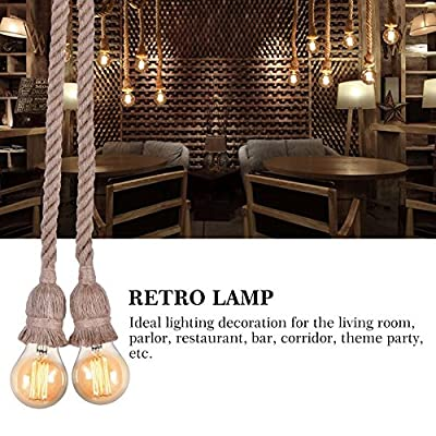 Yosoo Rope Chandelier Pendant Light Ceiling Lamp E27 Base Lamp Cord Retro Style DIY Home Decoration