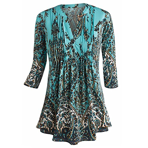 5bb61af9bfe63 Women s Tunic Top - Paisley Print Pleated Long Fit Blouse free shipping