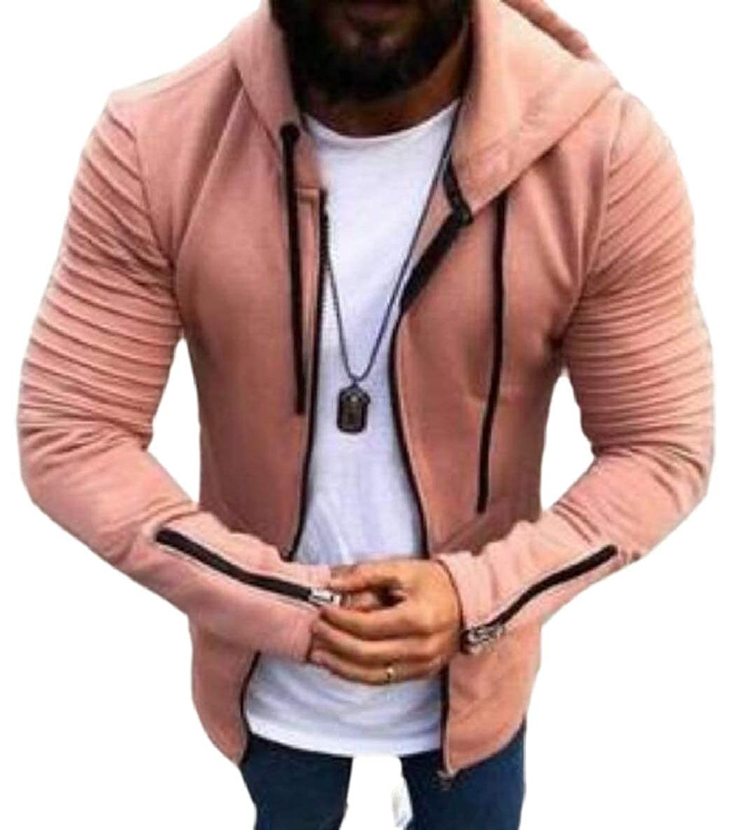 Tymhgt-CA Men's Hood Sweatshirt Ruched Solid Color Long Sleeves Zipper Jacket