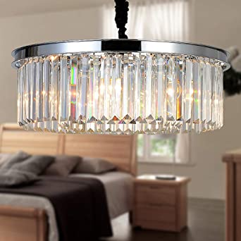 MEELIGHTING Crystal Chrome Chandelier Modern Chandeliers Lighting Pendant  Ceiling Light Fixture 2-Tier for Dining Room Living Room Kitchen Island ...