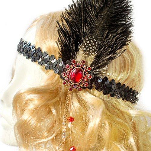 Flapper Costume Headband, Gatsby Costume Headpiece (Black band, Black Feather) (Great Gatsby Prom Theme)
