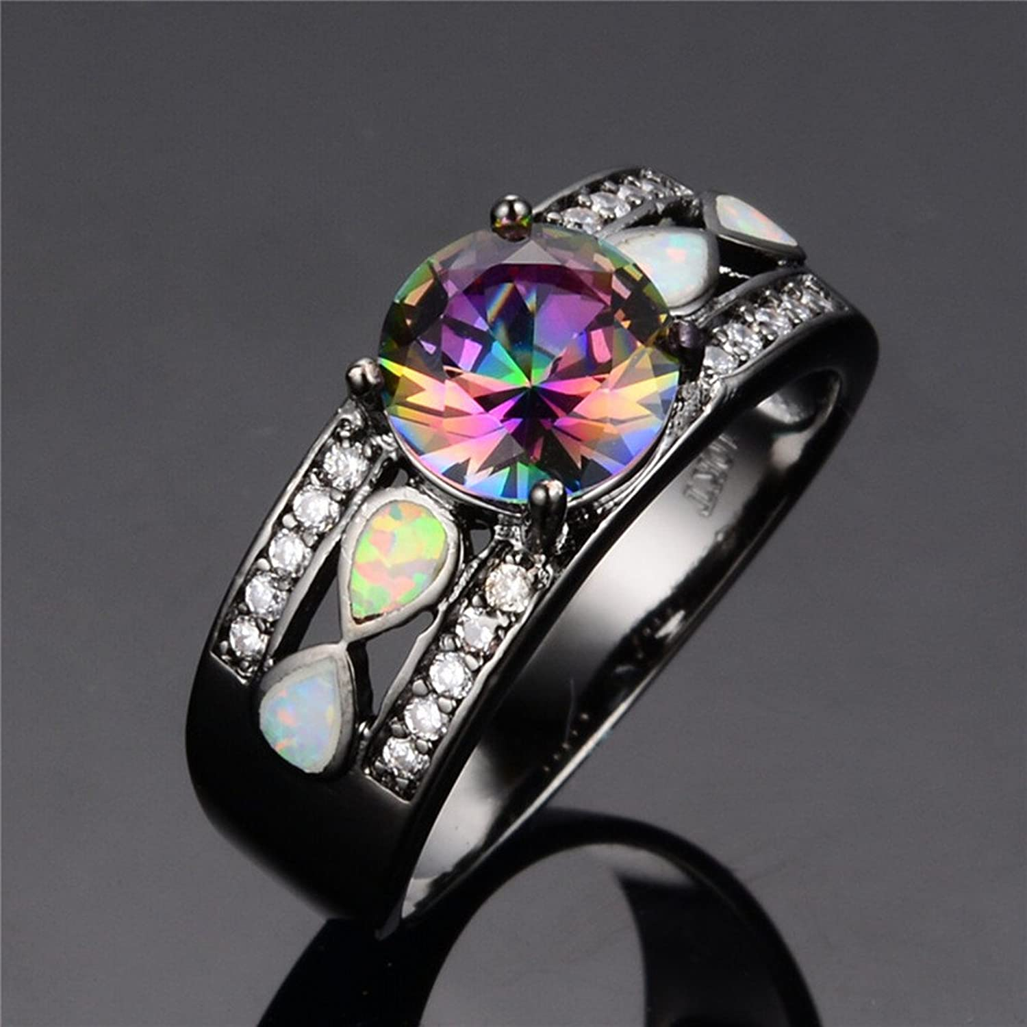 amazoncom rongxing jewelry colorful opal rings rainbow mysteric crystal ladies black gold size5 10 everything else - Rainbow Wedding Rings
