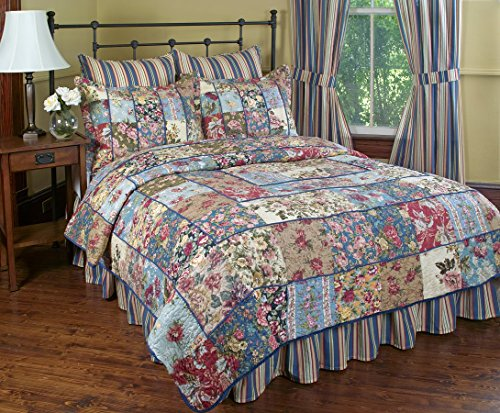 2 Quilt Shams Floral (Kensington Garden Reversible Quilt Set, Traditional Floral Patchwork Quilt, 2-Piece Set with Quilt and Pillow Sham - Twin, Kensington Garden)