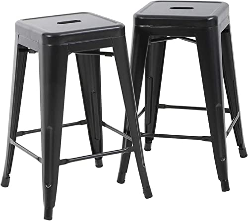 BestMassage Bar Stools Counter Stool Barstools Stackable Modern Metal Chairs Industrial Indoor/Outdoor 330lb Kitchen Counter Chair Metal Bar Stool 2 Pack
