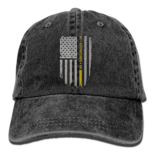 PENN-TNT Unisex Adult 911 Dispatcher Thin Gold Line Washed Denim Retro Cowboy Style Baseball Hat Sun Hat Trucker Cap Adjustable Dad Hats