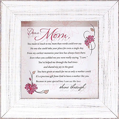 Dear Mom Pink Floral Bloom Poem  Wood Shadow Box Framed Wall Art