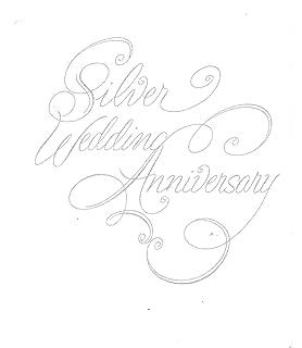 25th Wedding Anniversary Invitations, Silver Script Silver Print 25 Count