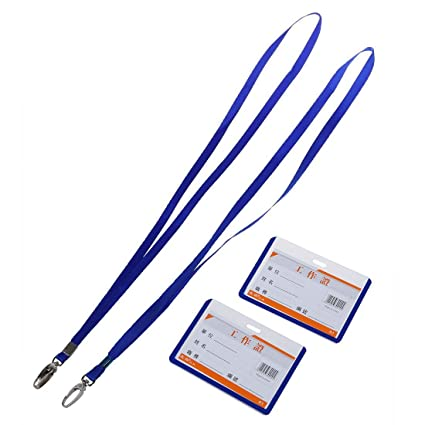 Uxcell Neck String School Office Lanyard Horizontal Name Badge ID Card Holder 2 Pcs