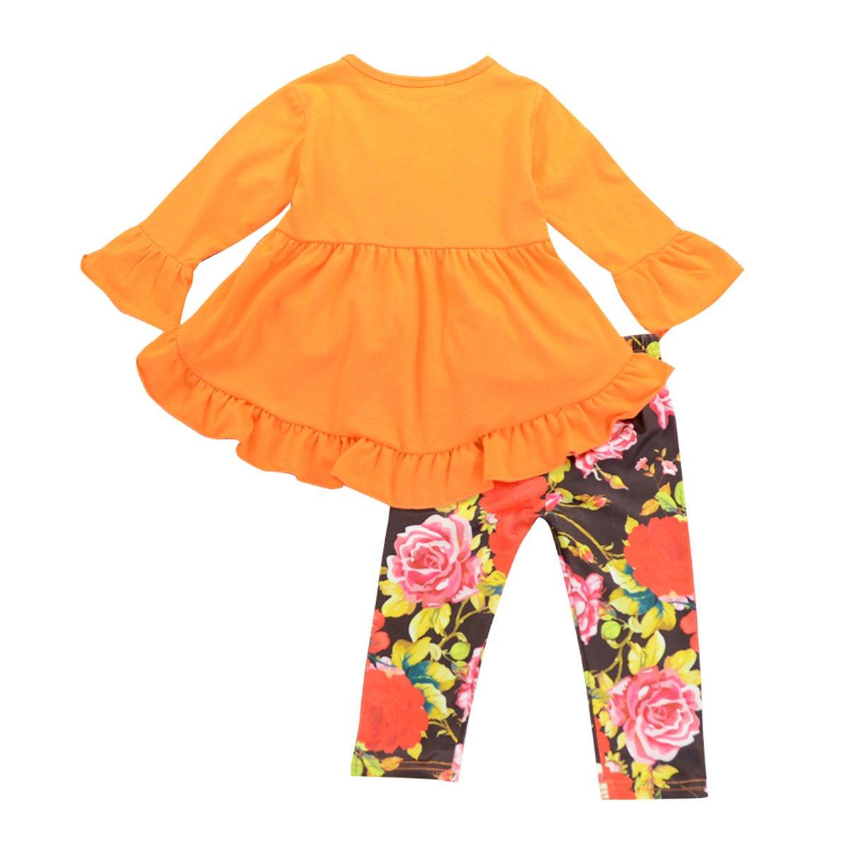 Amazon.com  Toddler Girls Ruffle Dress Shirt Tops   Floral Legging Pants  Princess Outfits Set  Clothing 4469165d30b1