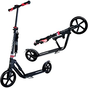 Hudora 230 Big Wheel Kick Scooter for Teen Adult - 230MM & 205MM Wheel, 17.7