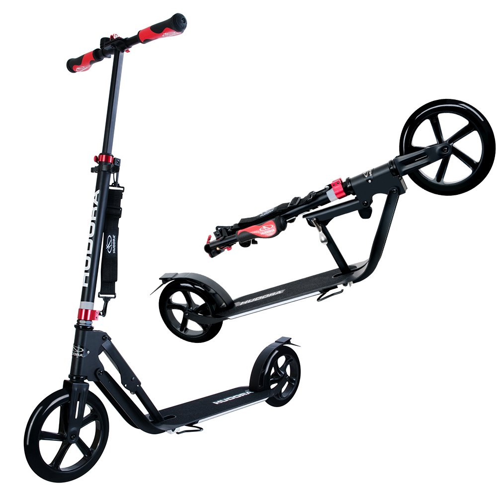 Hudora 230 Kick Scooter for Teens Adult --Folding, Height Adjustable, Rear Friction Brake, Big Smooth Wheels With 230 City Alumium Scooter (230MM & 205MM ) - Black