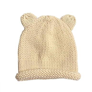 Fulltime® Bébé Fille Garçon Naissance Ponpom Laine chaude Bonnet Cap (Beige)   Amazon.fr  Vêtements et accessoires 2ae663daab3