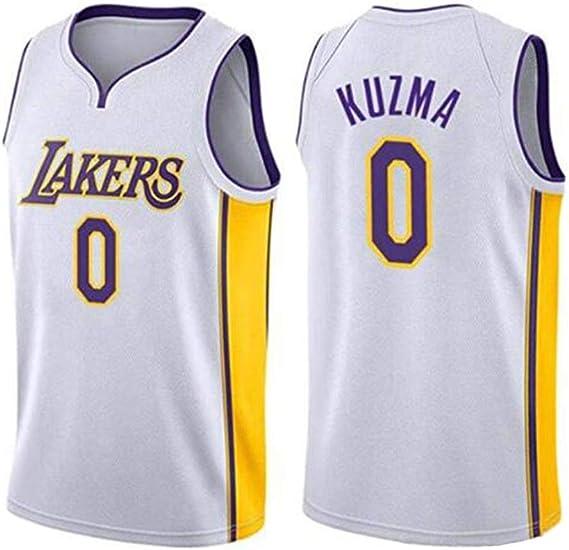 Kyle Kuzma # 0 Camiseta De Baloncesto De Los Hombres - NBA Los Angeles Lakers, Nueva Tela Bordada Sin Mangas De La Camisa del Jersey,White(A)-XS: Amazon.es: Ropa y accesorios