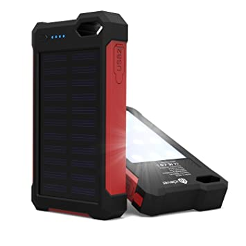 Android iclever Cargador Solar iPad IP67 Impermeable Solar Cargador para iPhone 10000mAh Port/átil Solar Power Bank Dual Puerto USB Cargador Bater/ía con Luz LED iPod Samsung