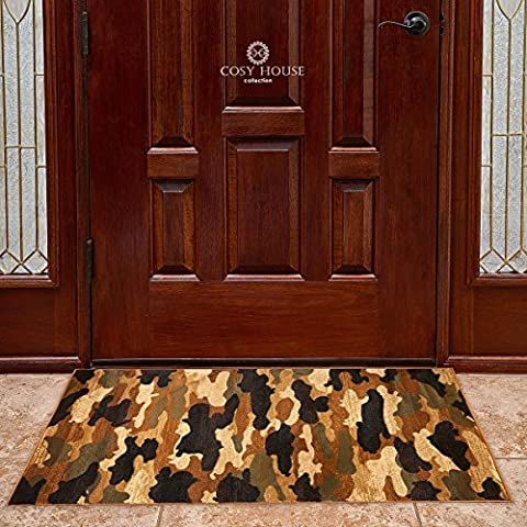 Door Mat Rugs by Cosy House - Thick Indoor Outdoor Front Doormat for Entrance, Kitchen, Bathroom, Bedroom Entry   100% Olefin Polypropylene Fiber (2 Feet by 4 Feet, Wildlife (Big Circle White Fur Rug)
