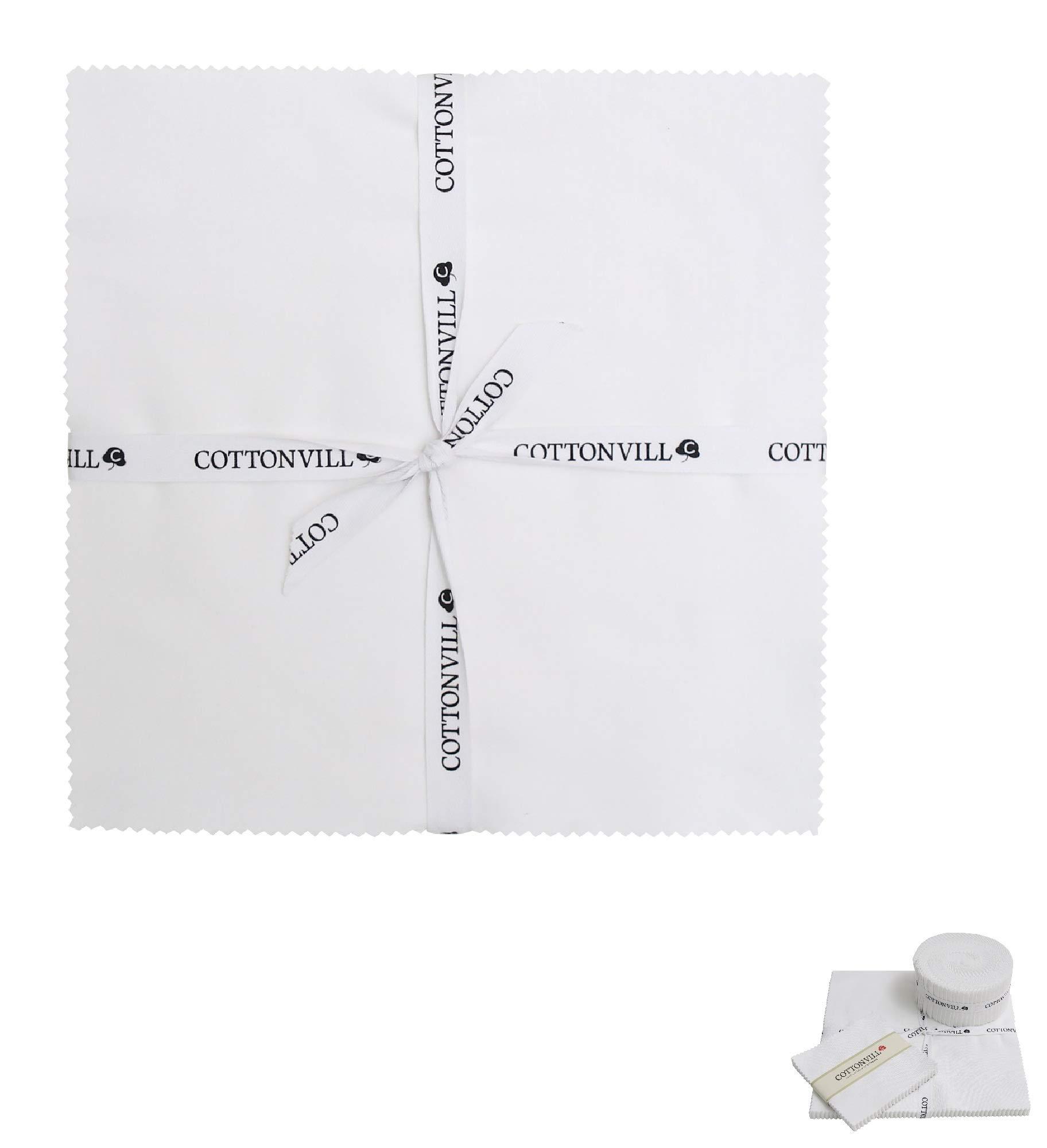COTTONVILL Cotton Solid Precut Quilting Fabric Bundle 42 pcs, White (10'' Squares) by COTTONVILL (Image #1)