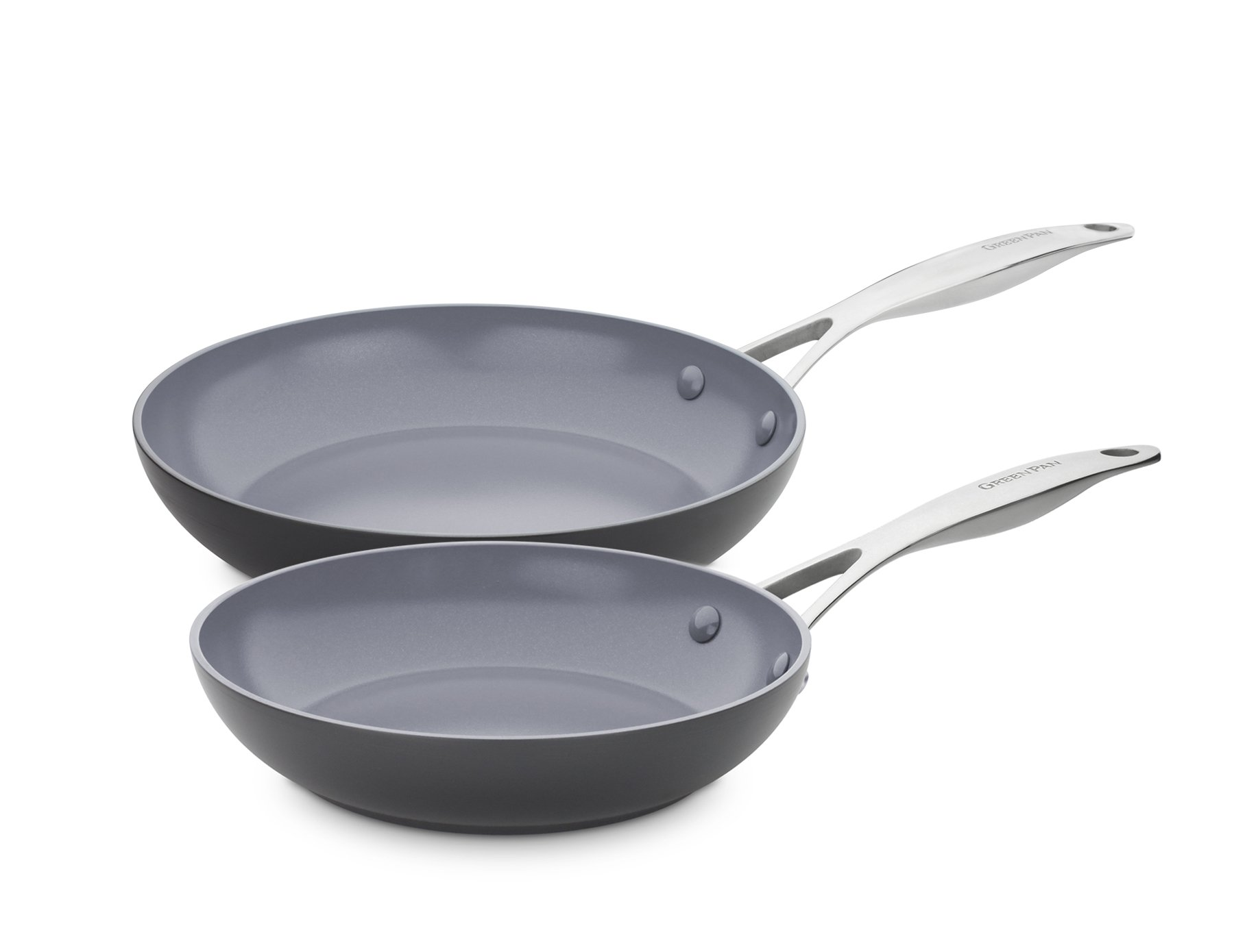GreenPan CC000672-001 Valencia Pro Hard Anodized 100% Toxin-Free Healthy Ceramic Nonstick Metal Utensil/Dishwasher/Oven Safe 8 & 10-Inch Frypan Set, 2-Piece, Grey
