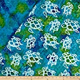 Textile Creations Double Face Quilted Indian Batik Turtle Fabric by The Yard, Aqua/Lime