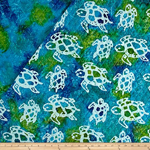 - Textile Creations Double Face Quilted Indian Batik Turtle Fabric by The Yard, Aqua/Lime