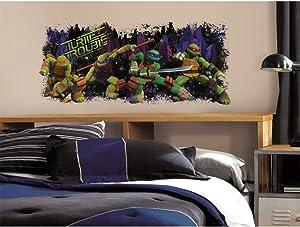 ON 1 Piece Kids Green Brown Blue Teenage Mutant Ninja Turtles Wall Decal, Cartoon Themed Wall Stickers Peel Stick, Fun Turtle Power Martial Arts Pizza TMNT Decorative Graphic Mural Art, Vinyl
