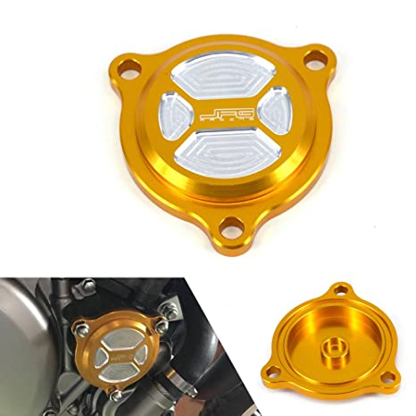 JFG RACING CNC Billet Aluminum Gold Oil Filter Covers Motorcycle Gas Caps  For Suzuki DRZ400S DRZ400SM 2000-2015