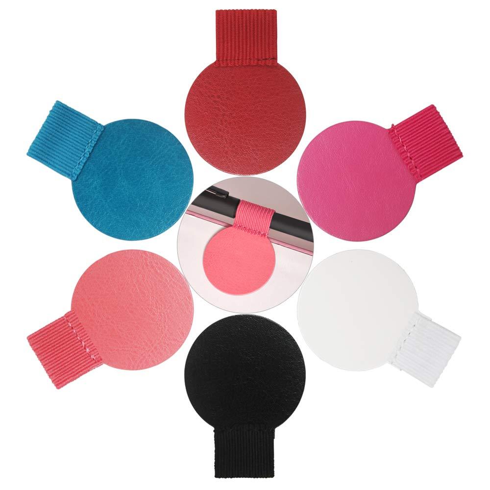 selbstklebend Stiftehalter Leder mit Elastische Schlaufe Runde Form 6/Farben 12/Packungen selbstklebend Stiftschlaufe f/ür Notebook Stiftschlaufe Halter Planer Kalender Klemmbretter etc.