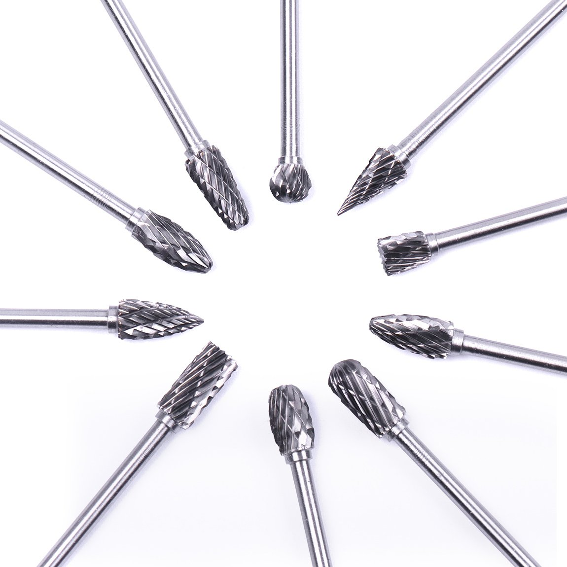 Atoplee 10pcs 1/8 Shank Tungsten Steel Solid Carbide Rotary Files Diamond Burrs Set Fits Rotary Tool for Woodworking Drilling Carving Engraving by ATOPLEE (Image #3)