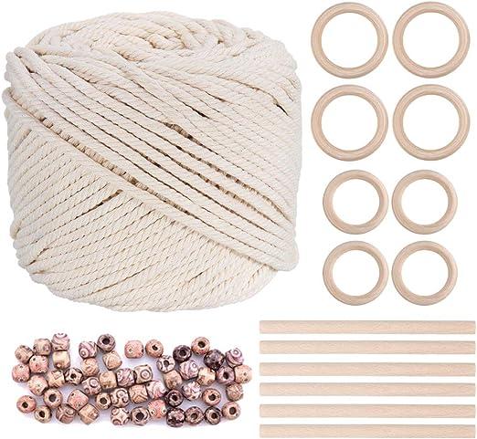 Cordón de macramé de Wallinton, 3 mm x 196 yardas, cuerda de algodón natural con 8 anillas de madera, 6 barras de madera y 100 cuentas de madera: Amazon.es: Hogar