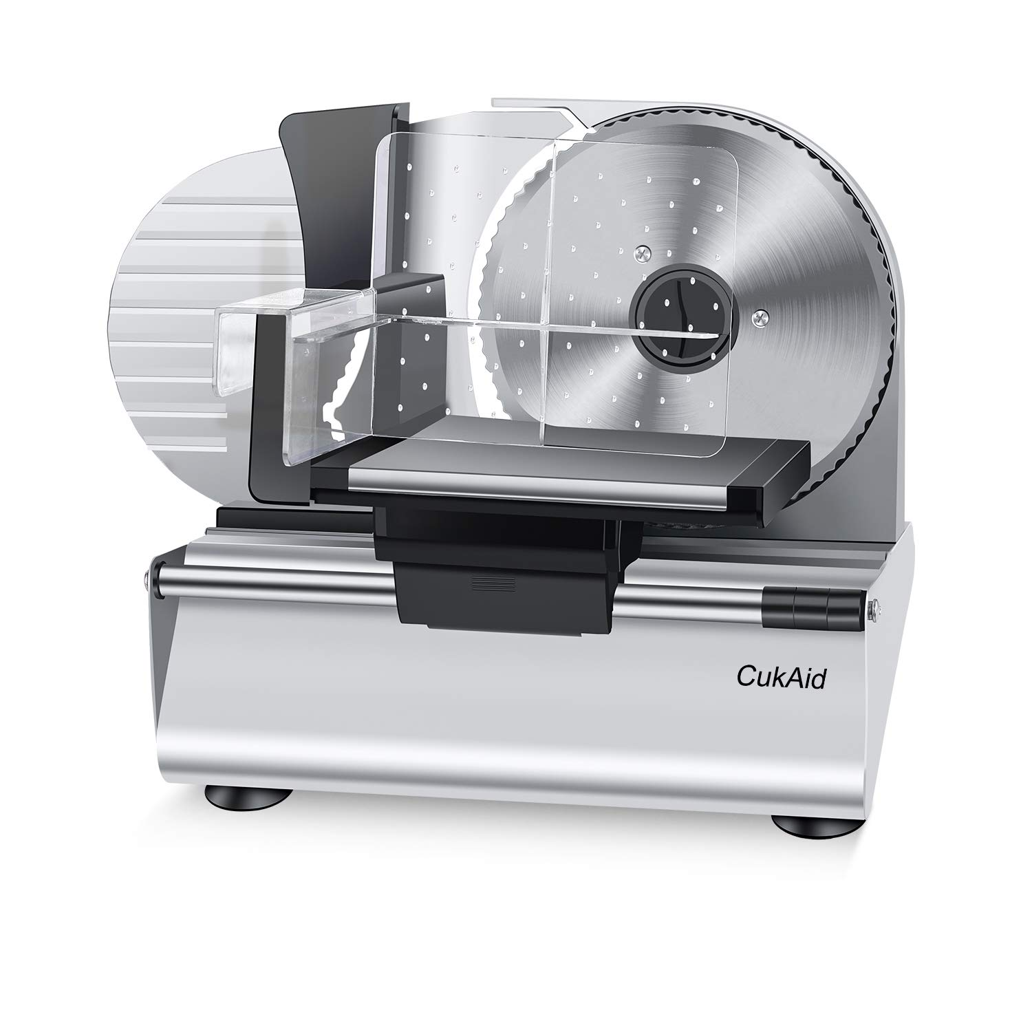 CukAid Electric Meat Slicer Machine, Deli Cheese Bread Food Slicer, Dishwasher Safe, Removable Stainless Steel Blade & Food Carriage and Pusher, 7/8 Inch Adjustable Thickness, 180W, Commercial & Home Use by CukAid (Image #1)