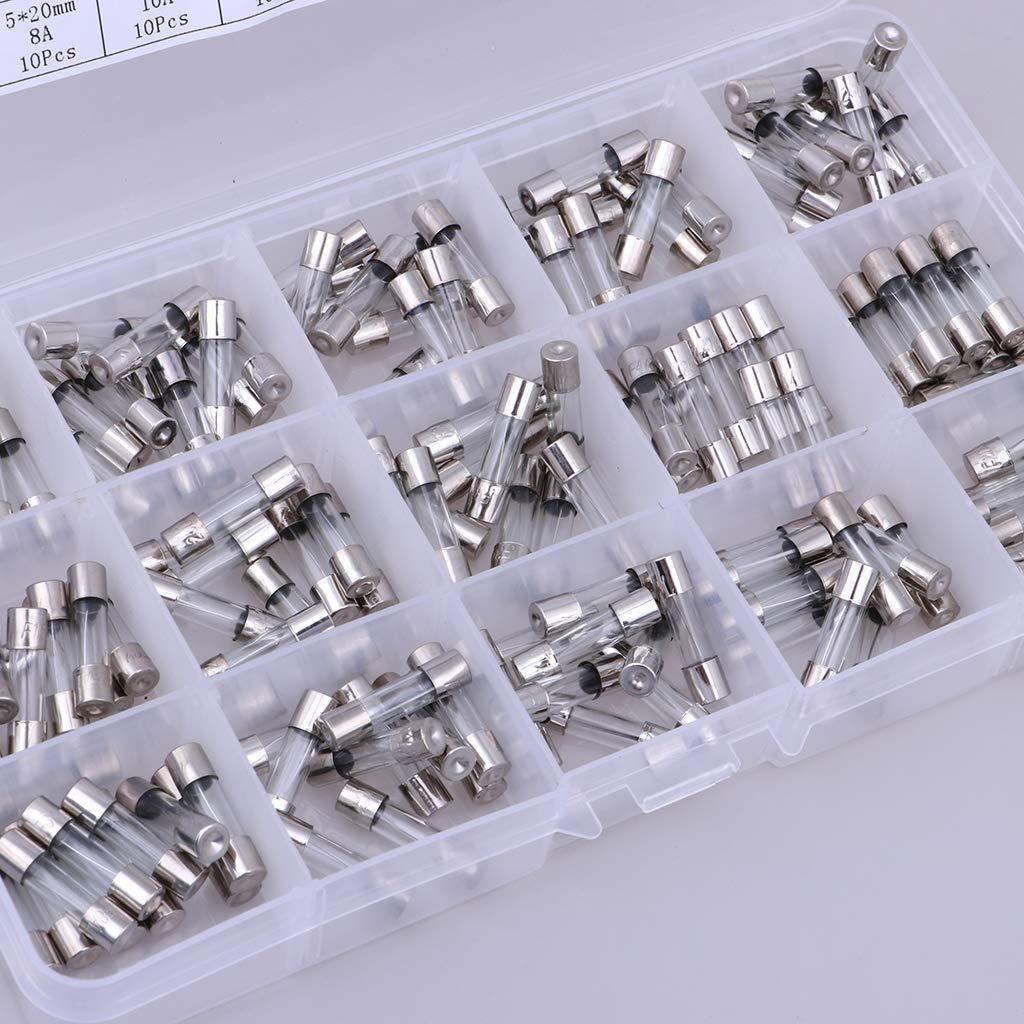 Baoblaze 150pcs Flink Schaltungen Glassicherung 0.1A 0.2A 0.25A 0.5A 1A 1.5A 2A 3A 4A 5A 8A 10A 12A 15A 20A