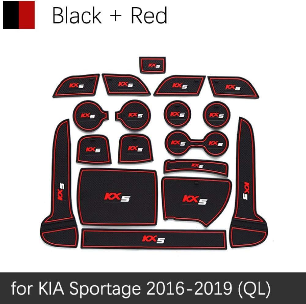 XHULIWQ Alfombrillas Antideslizantes para Puertas para KIA Sportage 2016-2019 Caja de Almacenamiento de Taza de Agua Accesorios para Interiores de autom/óviles