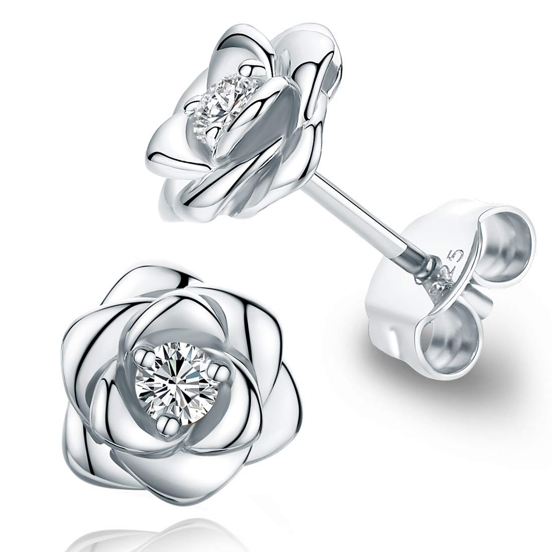 c86d6f05593ff Gold Plated Sterling Silver Rose Flower Ear Studs, Hypoallergenic & Nickel  Free Earrings for Women