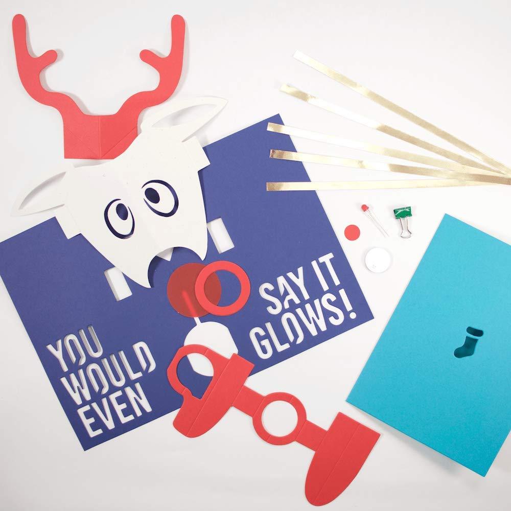 amazoncom diy light up pop up card kit rudolph arts crafts