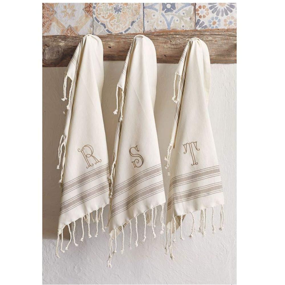 Size 38 x 20 Mud Pie W Initial Turkish Hand Towel